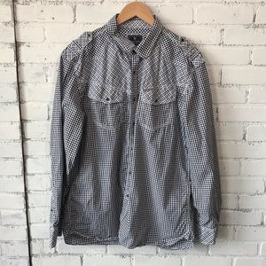 Pear Snap Long Sleeve Shirt Marc Ecko XL Black